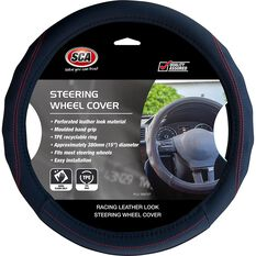 SCA Steering Wheel Cover - PU Racing, Black/Red, 380mm diameter, , scanz_hi-res