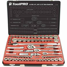 "ToolPRO Socket Set 1/4"", 3/8"" & 1/2"" Drive Metric/SAE 81 Piece, , scanz_hi-res"