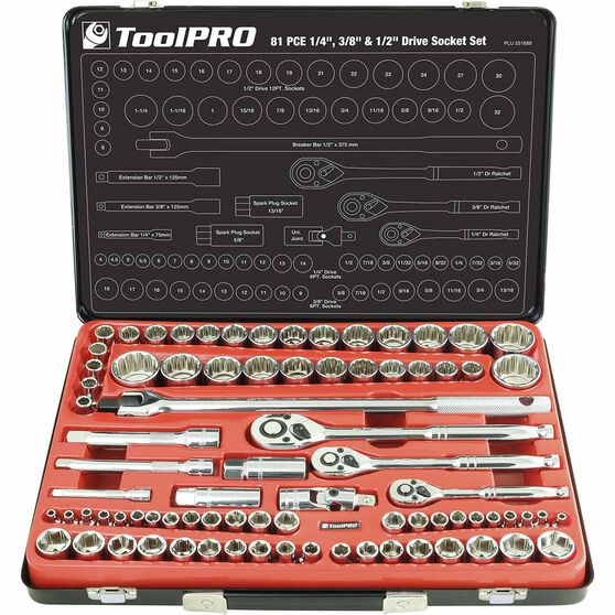 "ToolPRO Socket Set 1/4"", 3/8"" & 1/2"" Drive Metric/SAE 81 Piece, , scanz_hi-res"