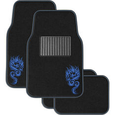 SCA Dragon Floor Mats Carpet Black/Blue Set of 4, , scanz_hi-res