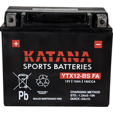 Katana Powersports Small Engine Battery YTX12-BS FA, , scanz_hi-res