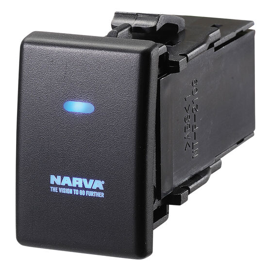 Narva OE Style Switch - Suits Holden Colorado / Isuzu D-Max 13-16, Blank Push On/Off, Blue LED, 63336BL, , scanz_hi-res