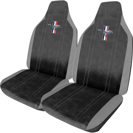 Ford Mustang Leather Look Seat Covers - Black and Grey, Builtin Headrests, Size 60, Front Pair, Airbag Compatible, , scanz_hi-res