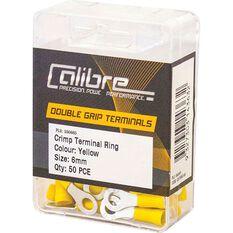Crimp Terminal Ring Yellow 6mm 50Pk, , scanz_hi-res