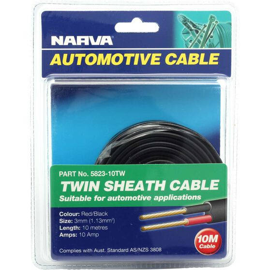 Narva Automotive Cable - Twin Sheath, 10 Metres, 3mm, 10 AMP, , scanz_hi-res