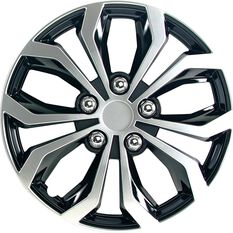 Street Series Wheel Covers - Venom 15in, Black / Silver, 4 Pack, , scanz_hi-res