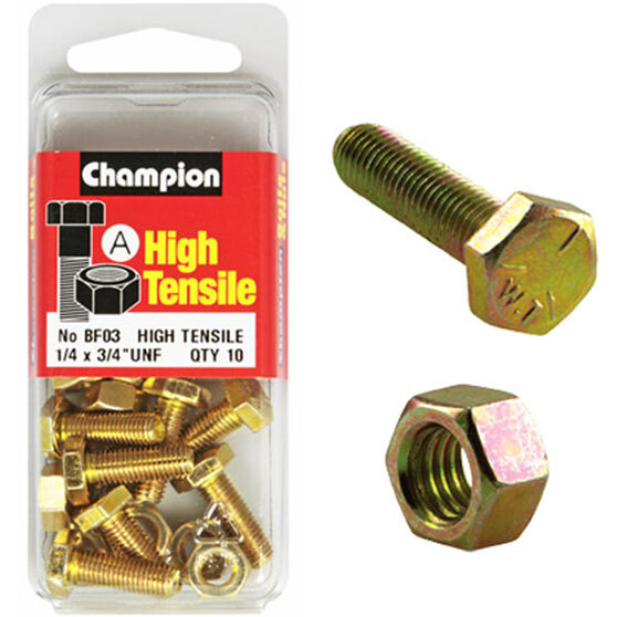 Champion High Tensile Bolts and Nuts - UNF 3 / 4inch X 1 / 4inch, , scanz_hi-res
