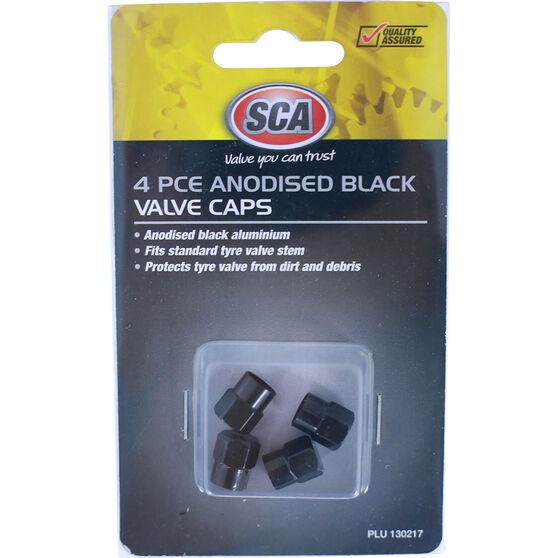 SCA Valve Caps - Anodized Black, 4 Piece, , scanz_hi-res