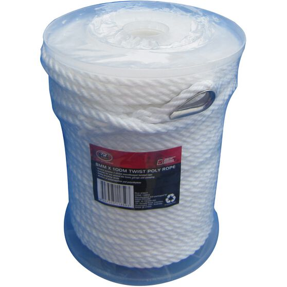 SCA 3 Strand Twist Poly Rope - 8mm X 100m, , scanz_hi-res