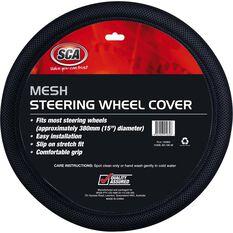 Steering Wheel Cover - Mesh, Grey, 380mm diameter, , scanz_hi-res