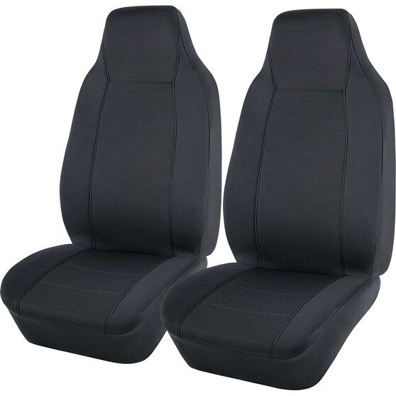 SCA Jacquard Seat Covers - Charcoal, Built-in Headrests, Airbag Compatible, , scanz_hi-res
