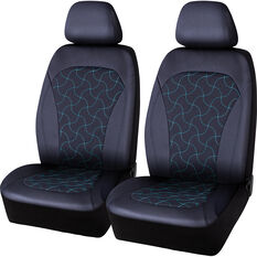 SCA Leather Look Teal Stitch Seat Covers Black/Teal Adjustable Headrests Size 30 Airbag Compatible, , scanz_hi-res