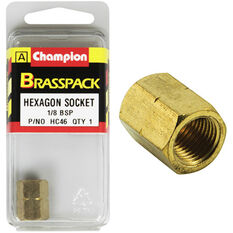 Champion Hex Socket - 1 / 8inch, Brass, , scanz_hi-res