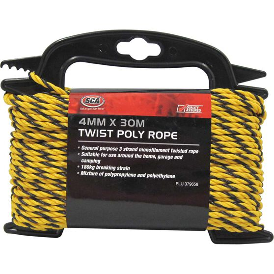 Rope Poly 3Str Twist 4mmx30m Yellow/Black, , scanz_hi-res