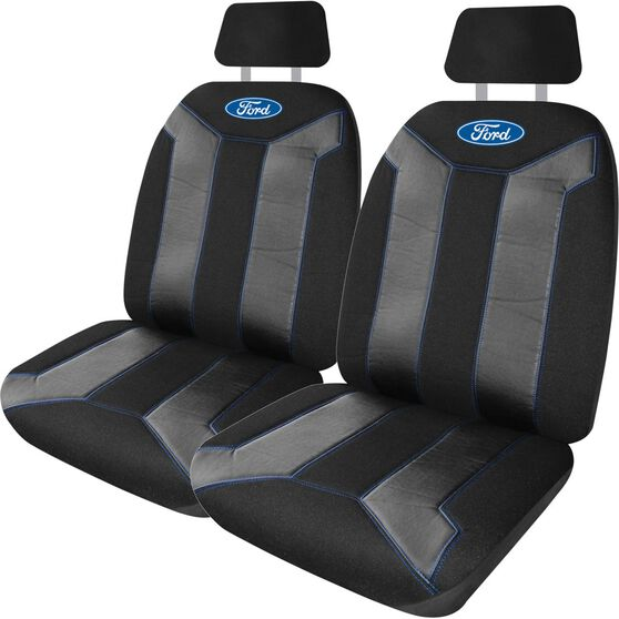 Ford Fusion Seat Covers - Black and Blue, Adjustable Headrests, Size 30, Front Pair, Airbag Compatible, , scanz_hi-res
