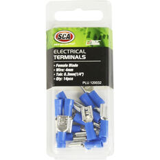 Electrical Terminals - Female Blade, Blue, 6.3mm, 14 Pack, , scanz_hi-res