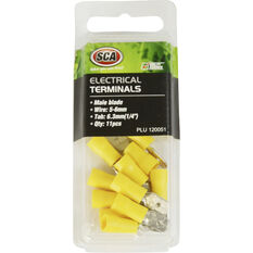 Electrical Terminals - Male Blade, Yellow, 6.3mm, 11 Pack, , scanz_hi-res