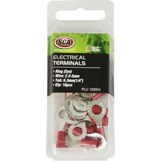 Electrical Terminals - Ring (Eye), Red, 6.3mm, 16 Pack, , scanz_hi-res
