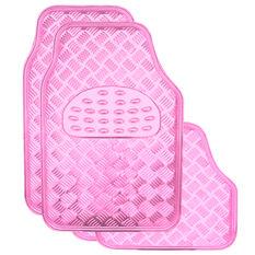 Checkerplate Car Floor Mats - PVC, Pink, Set of 4, , scanz_hi-res