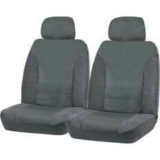 SCA Premium Jacquard and Velour Seat Covers - Charcoal Adjustable Headrest size 30 Front Pair Airbag Compatible, , scanz_hi-res