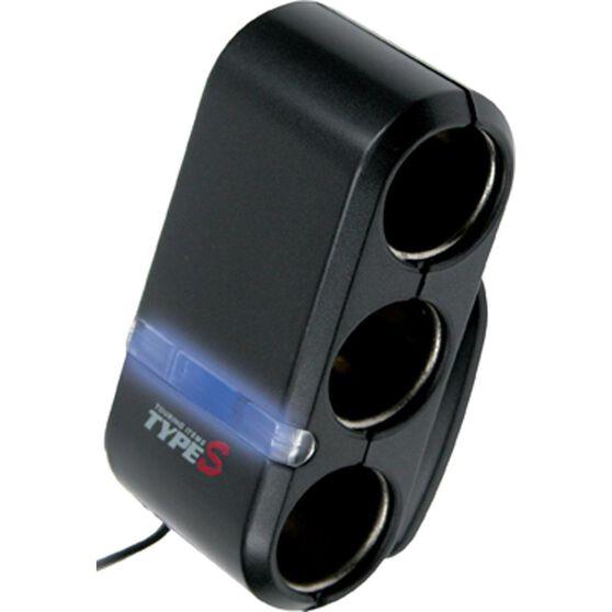 Type S Adaptor - 12V 3 Socket, With LEDs, , scanz_hi-res