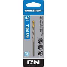 P&N Workshop Drill Bit HSS - Tin Tipped, 4.0mm, , scanz_hi-res