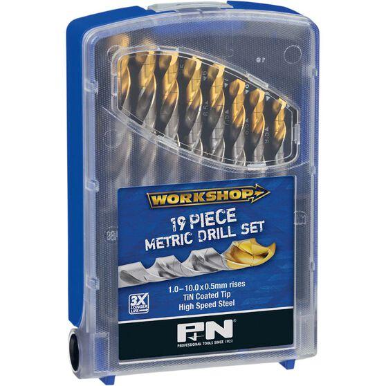 P&N Workshop Drill Bit Set, HSS, TiNite - 1-10mm, 19 Piece, , scanz_hi-res