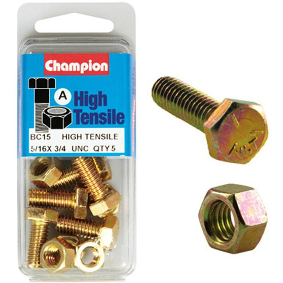 Champion High Tensile Bolts and Nuts - UNC 3 / 4inch X 5 / 16inch, , scanz_hi-res