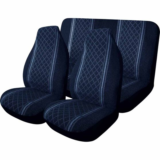 Escort Seat Cover Pack - Blue, Built-in Headrests, Size 60 and 06, Front Pair and Rear, , scanz_hi-res