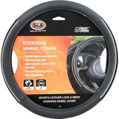 SCA Steering Wheel Cover - PU and Mesh, Black / Grey, 380mm diameter, , scanz_hi-res