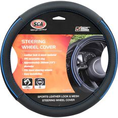 SCA Steering Wheel Cover - PU and Mesh, Black / Blue, 380mm diameter, , scanz_hi-res