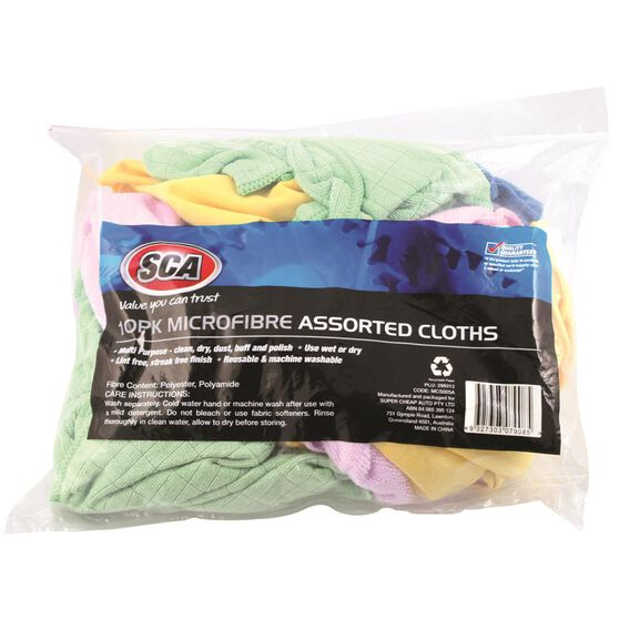 SCA Microfibre Cloths Assorted 10 Pack, , scanz_hi-res