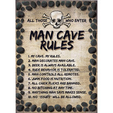 Man Cave Rules Tin Sign, , scanz_hi-res