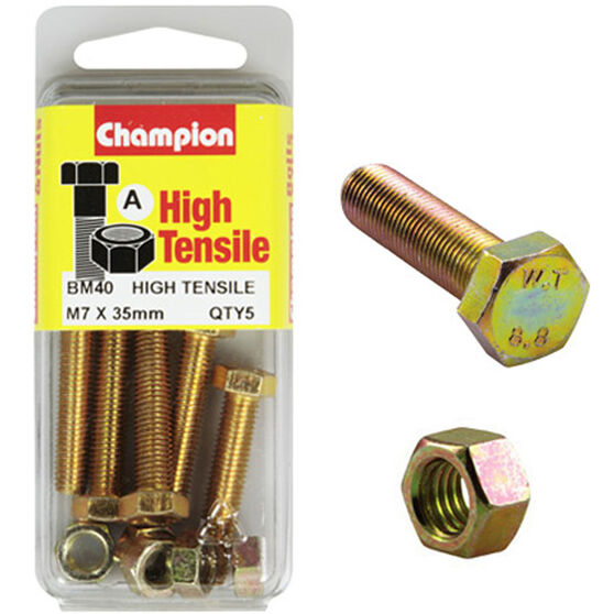 Champion High Tensile Bolts and Nuts - M7 X 35, , scanz_hi-res