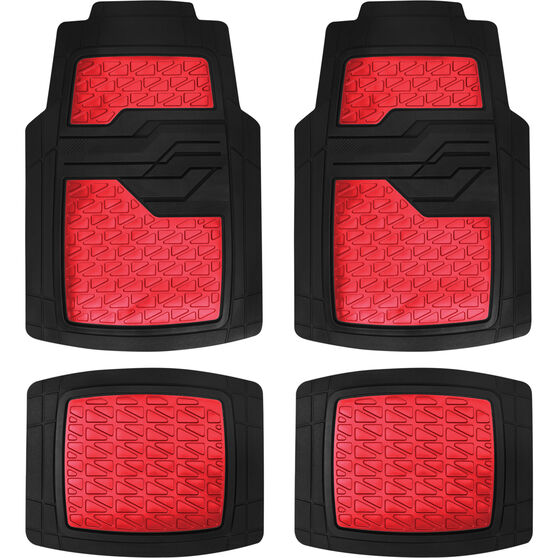 SCA Car Floor Mats - Rubber, Matt Red, Set of 4, , scanz_hi-res