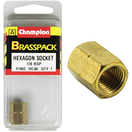 Champion Hex Socket - 1 / 8inch, Brass, , scanz_hi-res