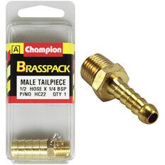 Champion Male Hose Barb - 1 / 2inch X 1 / 4inch, Brass, , scanz_hi-res