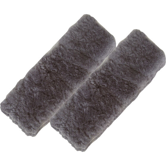 Seat Belt Buddies - Sheepskin, Charcoal, Pair, , scanz_hi-res
