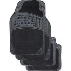 SCA Combo Car Floor Mats - Carpet and Rubber, Black, 4 Pack, , scanz_hi-res