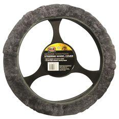 SCA Steering Wheel Cover - Sheepskin, Charcoal, 380mm diameter, , scanz_hi-res