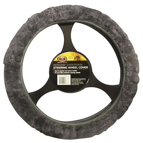 SCA Steering Wheel Cover - Sheepskin, Charcoal, 380mm diameter, , scanz_hi-res