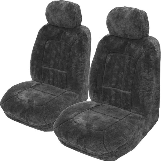 Platinum Cloud Sheepskin Seat Covers - Slate Adjustable Headrests Size 30 Front Pair Airbag Compatible Slate, Slate, scanz_hi-res