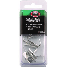 Electrical Terminals - 2 Way Male/Female, 17 Pack, , scanz_hi-res