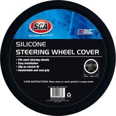 SCA Steering Wheel Cover - Silicone, Black, 380mm diameter, , scanz_hi-res