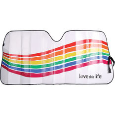 Love This Life Rainbow Wave Sunshade - Fashion Accordian Front, , scanz_hi-res