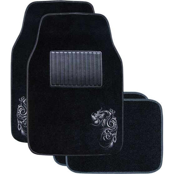 Dragon Car Floor Mats 4 Pack - Carpet, Grey, , scanz_hi-res