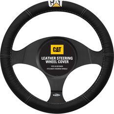 Caterpillar Steering Wheel Cover Leather Black 380mm Diameter, , scanz_hi-res