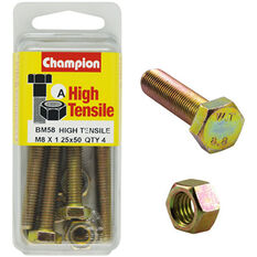 Champion High Tensile Bolts and Nuts - M8 X 50, BM58, , scanz_hi-res