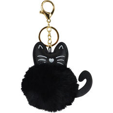 Pom Pom Keyring - Black Cat, , scanz_hi-res