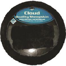 Steering Wheel Cover & Seat Belt Buddies - Sheepskin, Black, 380mm diameter, , scanz_hi-res